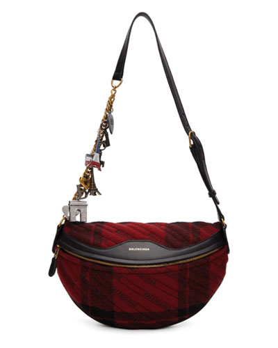 Balenciaga Red & Black Quilted Wool Check Belt Bag