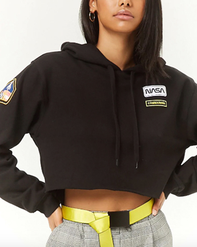 Forever 21 NASA Patch Cropped Hoodie