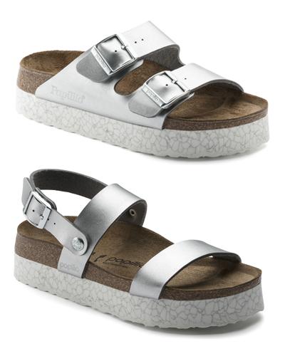 Metallic platform Arizona and Cameron Birkenstock sandals