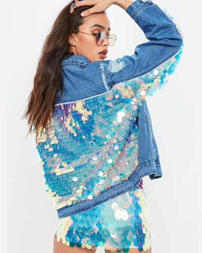 Missguided blue denim all over back mermaid sequin jacket