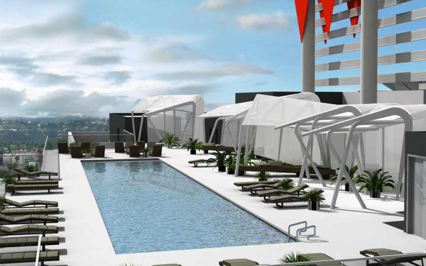 rooftop pool at W Hotel Hollywood