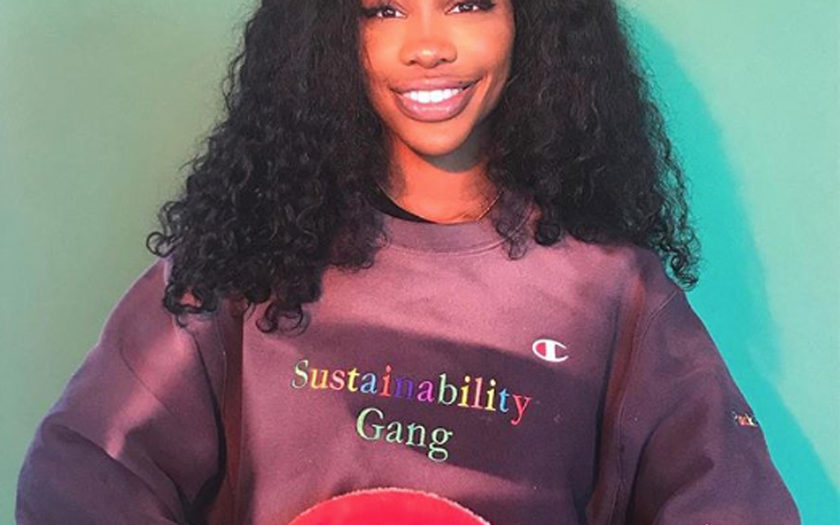 SZA wearing a sustainability gang crewneck