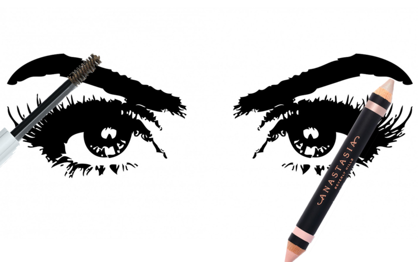 illustration of eyes with anastasia baverly hills eyebrow makeup wand and liner
