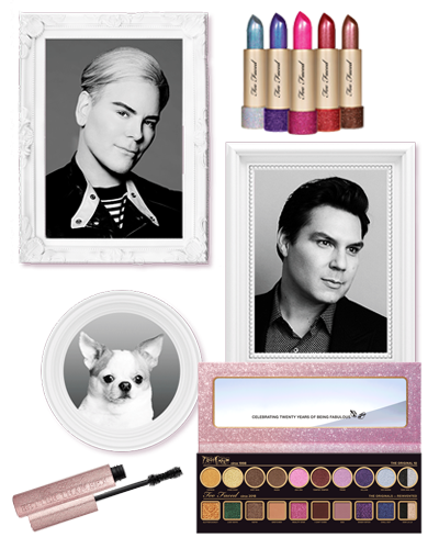 Pictures of the founders of too faced with their 20th birthday glitter beauty products