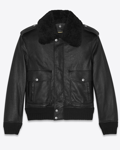 YSL BOMBER JACKET IN LEATHER W SHEARLING