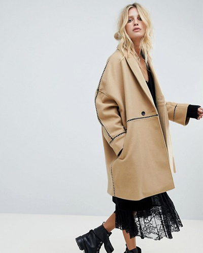 asos Religion car coat with contrast piping detail