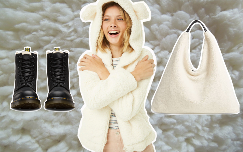 examples of shearling fashion shoes and accessories for women
