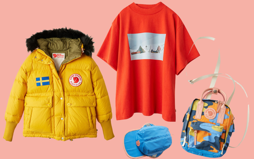 Acne Studios x Fjällräven jacket, oversized tee, cap and mini backpack