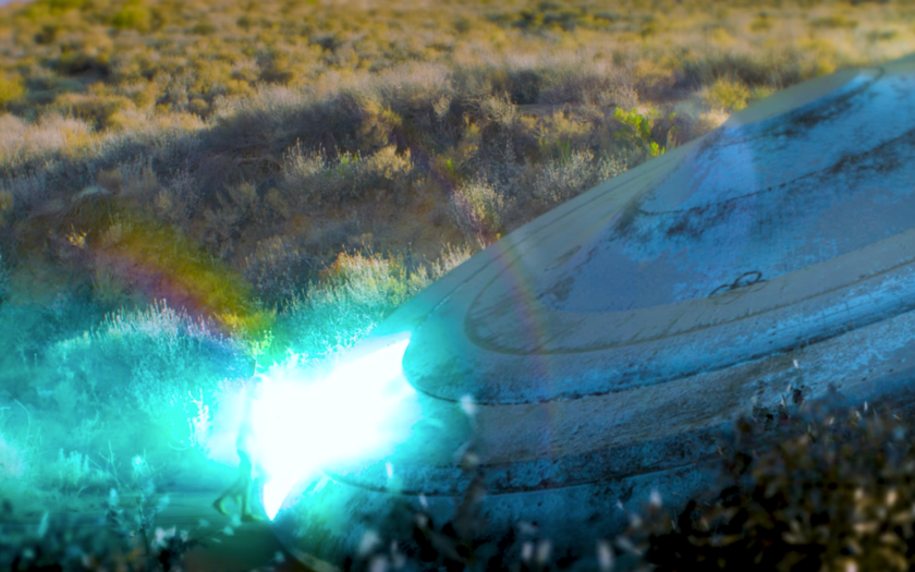 screenshot of flying saucer from REMEDY music video