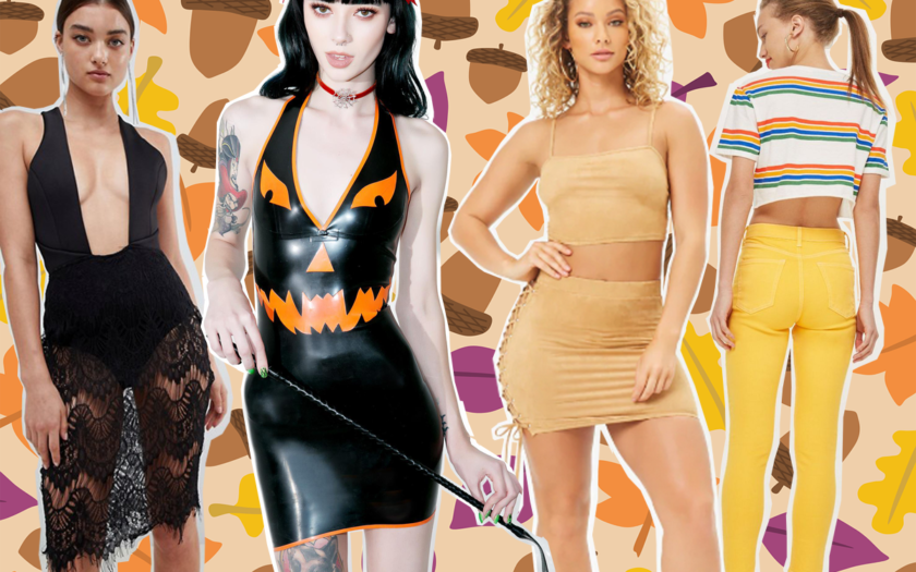 four examples of fall fashion that will be made into halloween costumes