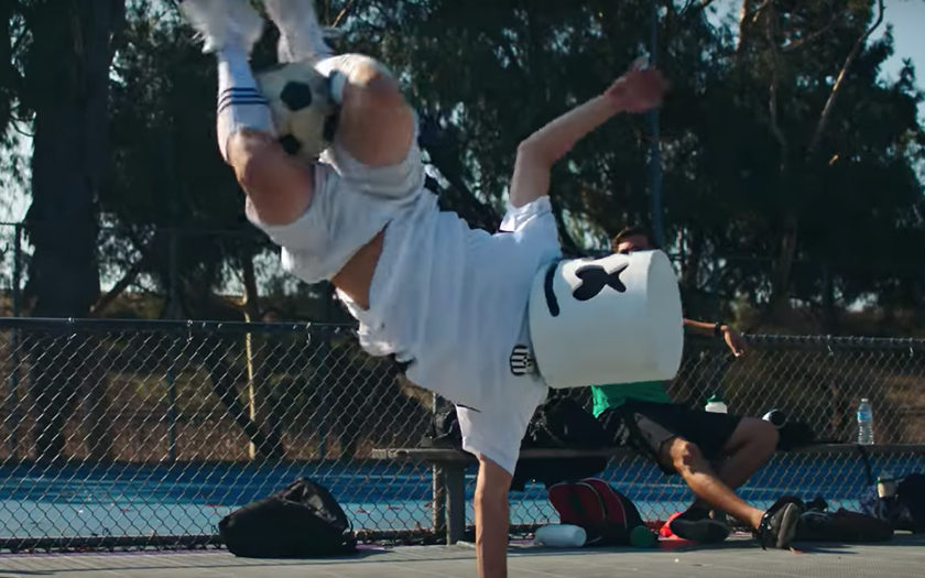 screenshot from stars music video of marshmello playing soccer