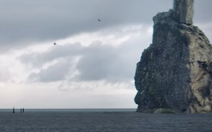 screenshot from diamond heart music video boats and drones in the distance