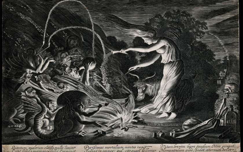 A witch at her cauldron surrounded by beasts. Etching by J. Wellcome circa 1626