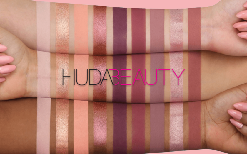 Huda Beauty the New Nude Palette on three multicultural skin tones