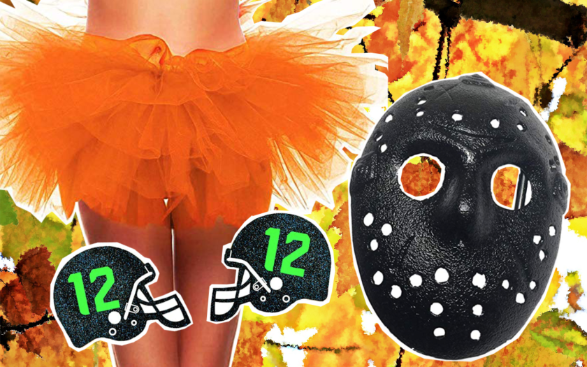orange tutu, football helmet pasties and a friday mask painted black