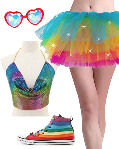 amazon rainbow rave outfit