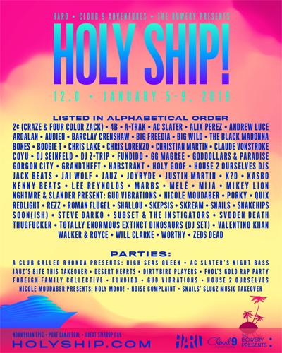 HOLY SHIP 2019 LINEUP