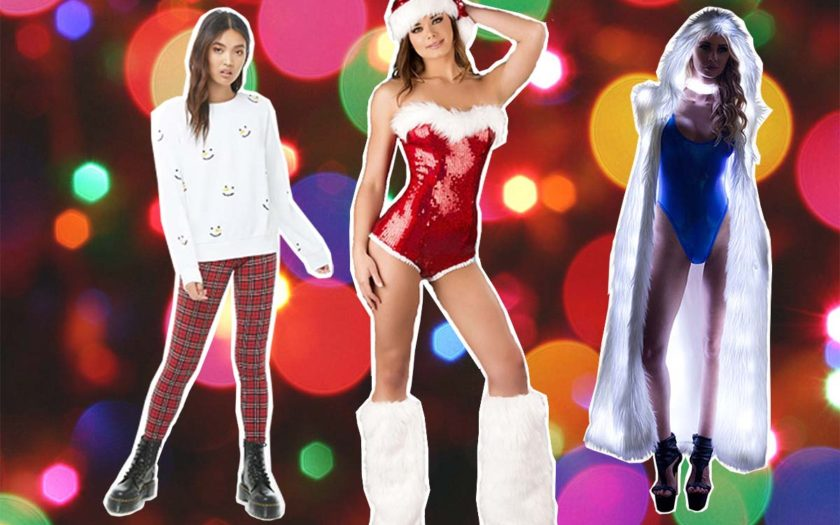 models wearing christmas street fashions inspired by EDM