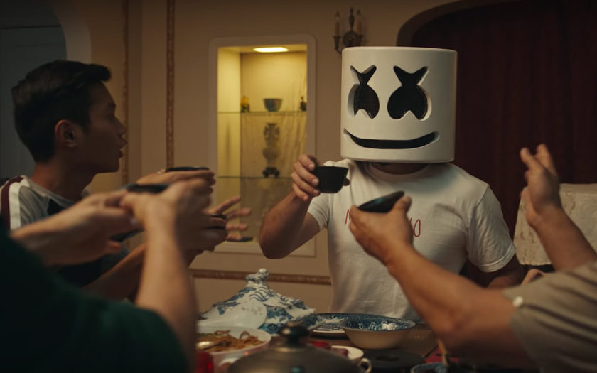 marshmello enjoying an asian style thanksgiving in together music video