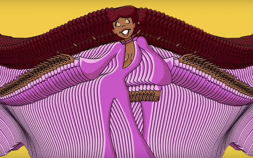screen shot of animated disco lady in le freak music video