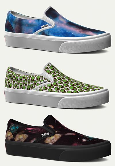 custom vans womens platform slipons space theme