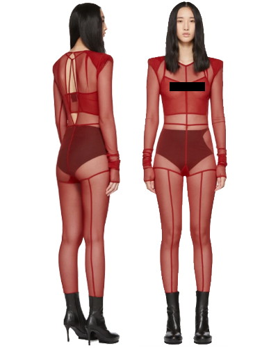 Ann Demeulemeester Red la Fille d'O Edition Soft Tulle Constructed Jumpsuit