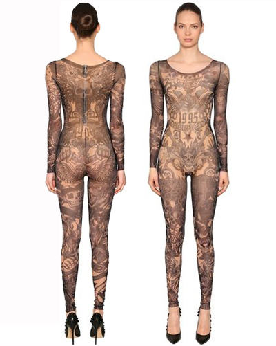 DSQUARED2 PRINTED STRETCH TULLE JUMPSUIT