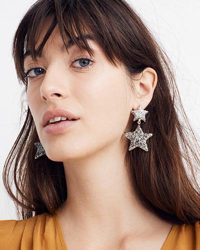 Madewell Glitter Star Statement Earrings