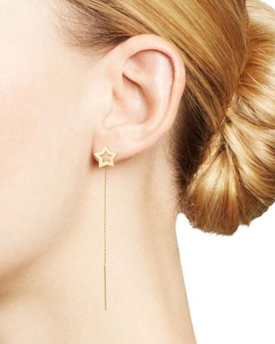 Moon & Meadow Open Star Threader Drop Earrings in 14K Yellow Gold