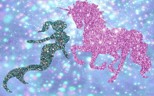 glitter mermaid and glitter unicorn