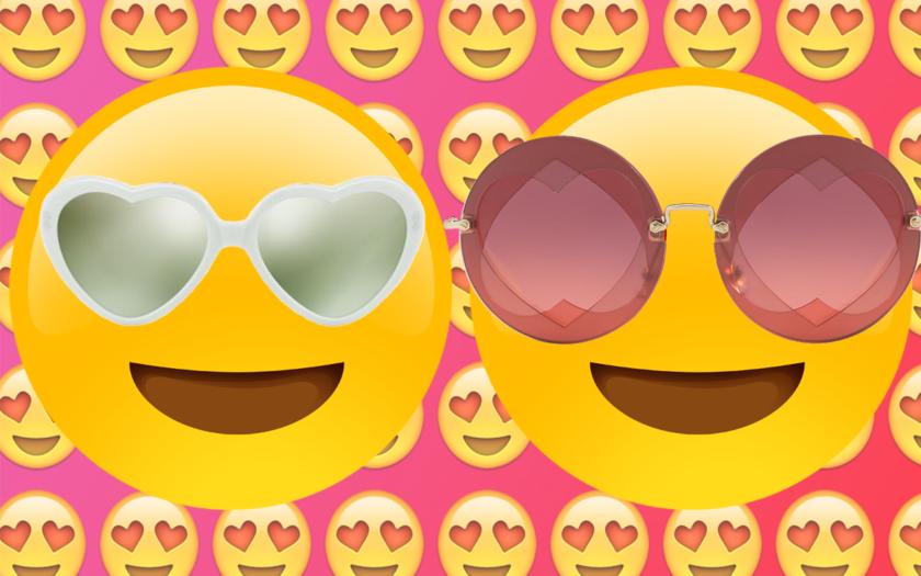 heart eye emojis wearing heartshaped sunglasses