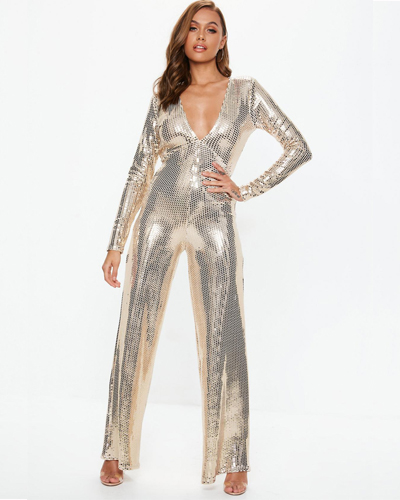 missguided gold plunge sequin jumpsuit