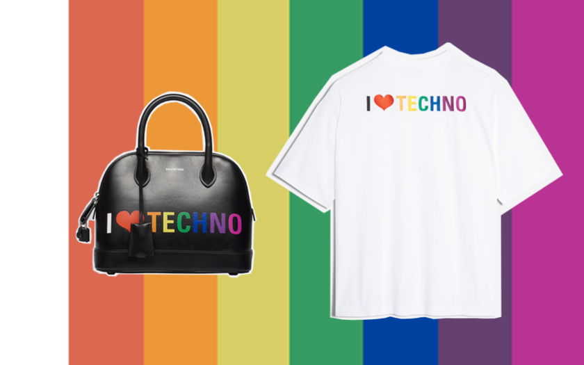 Balenciago i love techno handbag and t-shirt