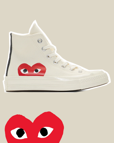 Comme des Garçons Play Off-White Converse Edition Half Heart Chuck 70 High Sneakers