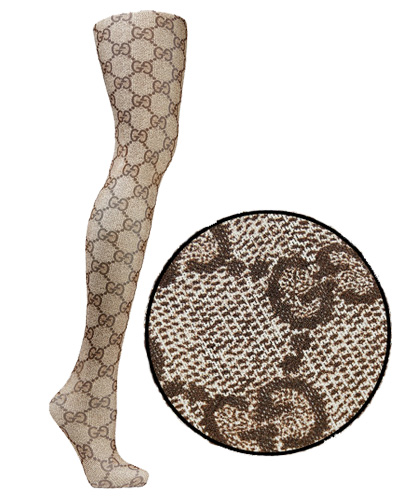 0ab6f7bb6c88d Gucci Intarsia Tights ($265) come in the classic brown logo print. Their  latest collection includes a lot of tights in floral, neon colors and  floral lace.