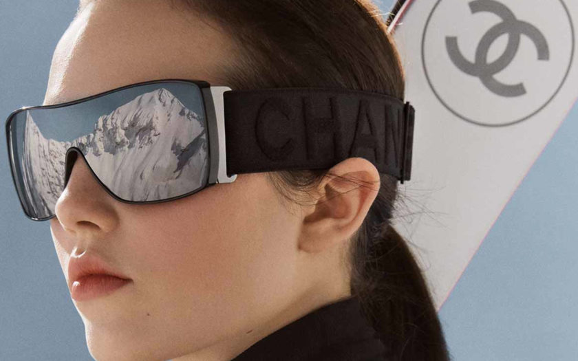 mademoiselle cares with a chanel snowboard and ski goggles